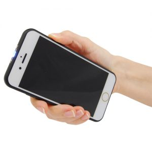cell phone stun gun in hand left side